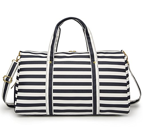 Elenture Weekender Tote Bag Leather Travel Duffel Bag Overnight Carry Bag (Navy Blue/White Stripe) by Elenture (Image #3)