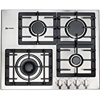 Verona VECTGM244SS 24 Designer Series Gas Cooktop With 4 Burner Design Front Controls Sealed Burners Heavy Duty Cast Iron Grates & Caps and 20 000 BTU tested in Stainless