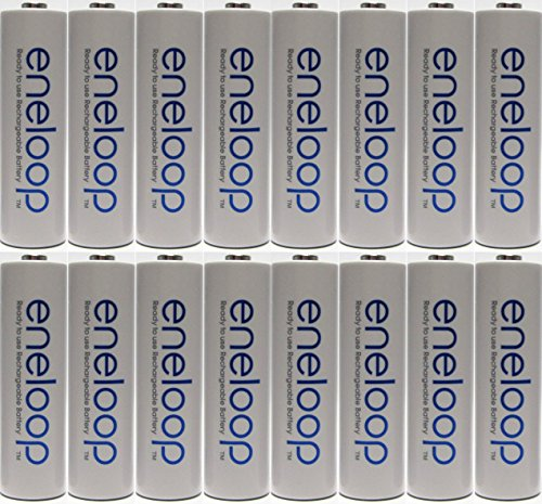 Newest Version Panasonic Eneloop 16 Pack AA NiMH Pre-Charged Rechargeable Batteries -FREE BATTERY HOLDER- Rechargeable 2100 Times (Sanyo Eneloop Nimh Rechargeable)