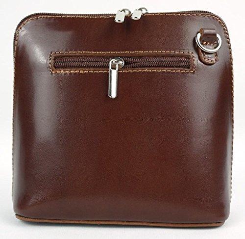 Bag or Body Leather Cross Shoulder Handbag Chocolate Tan Small Genuine Italian wp6Z8xq
