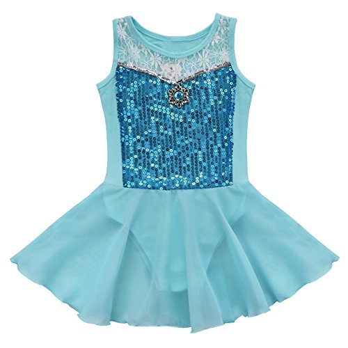 TIAOBU Girls Princess Ballet Dance Leotard Dress GYM Fancy Costume Dancewear Blue 6 (Fancy Dress Costume)