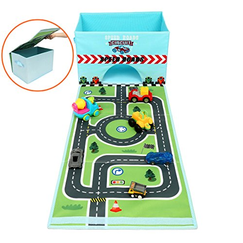 Eggsnow Toy Chest Toys Storage Bin Box Collapsible Toy Organizer Vehicles Collector Toy Box with Play Mat for Toys and Clothes-Blue(Toy Cars Not Included) ()