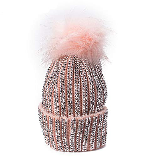 Winter Hats Faux Fur Pom Pom Rhinestone Bling Style Women Beanies Warm  Knitted Hat Ladies Cap dfc49ebf019