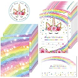 Outego Magical Rainbow Unicorn Birthday Invitation, Glitter Unicorn Party Invitations with Envelopes for Kids Birthday Baby Shower Unicorn Party Supplies (20 Pack)