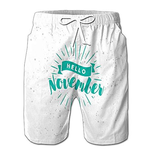 Summer Shorts Pants Hello November Calendar Mens Golf Sports Shorts M