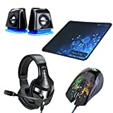 PC Gaming LED 2.0 Computer Speakers, 3500 DPI Optical Gaming Mouse, Extended Gaming Mouse Pad, and Plush Padded Stereo Gaming Headset - Computer Gaming Accessory Bundle by ENHANCE