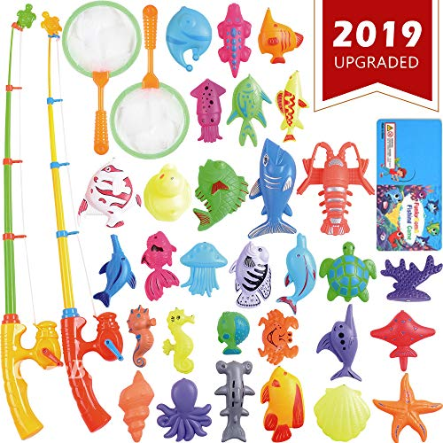 Magnetic Fishing Toys Game Set for Kids by ECLifeHack for Bathtime or Pool Party with Pole Rod Net, Plastic Floating Fish - Toddler Education Teaching and Learning of all Size Colors Ocean Sea Animals ()