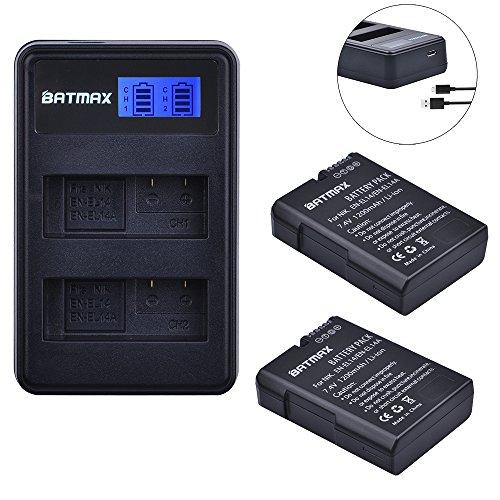 Batmax EN-EL14 EN-EL14a Battery (2-Pack) and Compact LCD USB Dual Charger for Nikon D5500, D5300, D3300, D5100, D5200, D3100, Nikon Df, D3200, P7100, P7700 Camera