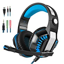 PS4 Headset, Xbox One Headset, Gaming Headset, Collee GM-2 3.5mm Over-Ear Gaming Headphones with Microphone Volume Control LED Lights for PC, Laptop, Wii U, Mobile Phones (Blue and Black)