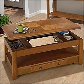 Amazoncom Bowery Hill Wood LiftTop Coffee Table in Oak Kitchen