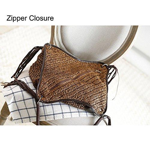 Women Tote Beach Bag Cotton Top Straw Beige Bag Lining Tassels Bag Bag Shoulder Bucket Shopper Handle Hobo Summer Handbag AwFqrAg