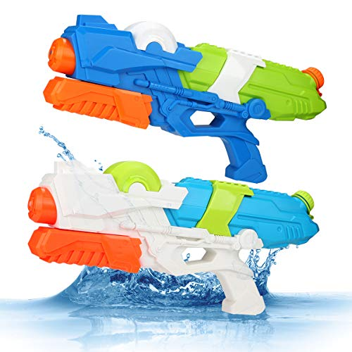 Young Choi's Kids Water Gun Beach Sand Toys, 2 Pack Water Gun Large Size Water Soaker Blaster for All Age Kids (2 in 1 Set Water Gun Toy)