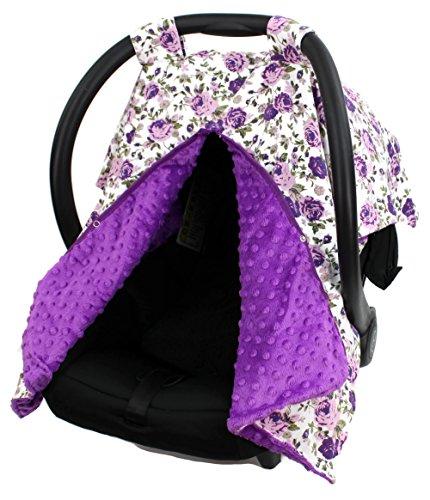 Dear Baby Gear Car Seat Canopy, Vintage Floral Purple on White, Purple Minky