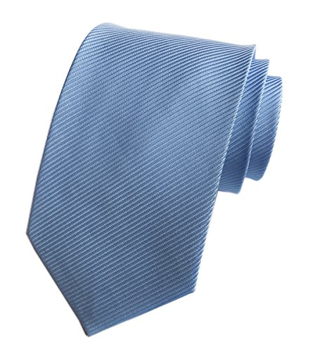 Blue Striped Designer Silk Necktie (Elfeves Men's Sky Blue Silk Self Cravat Ball Party Ties 3