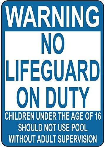 "Aluminium-Metallschild ""Warning No Lifeguard On Duty Children Not Use Pool"""
