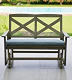 Cambridge-Casual 130825BLU West Lake 4' Glider Bench with Seat Pad, Weathered Grey With Spruce Blue