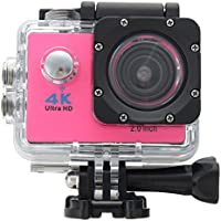 ESCENERY Waterproof 4K SJ9000 Wifi HD 1080P Ultra Sports Action Camera DVR Cam Camcorder ,170°A+ HD Wide-Angle Lens (Pink)