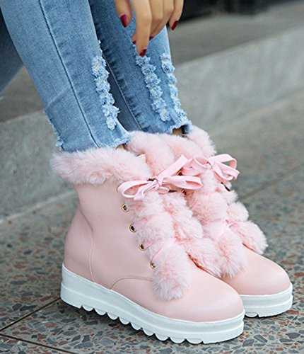 IDIFU Womens Elegant Lace Up Mid Wedge Heels Inside Round Toe Ankle High Snow Boots Pink PbJCZk