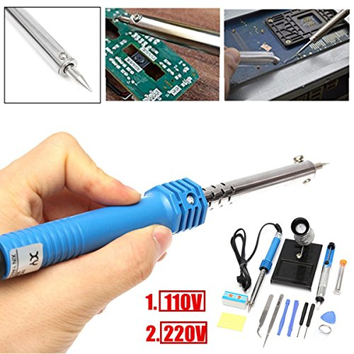 14 in1 110V/220V 60W EU Plug Electric Soldering Iron Starter Tool Kit Set (Stainless Starter Gun)