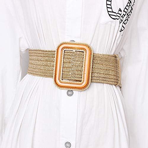 SGGSGG Vintage Tricoté Cire Corde en Bois Perle Taille Corde Femmes Lisse Boucle Ceinture Femme Tissé Femelle Main Perlé À La Main Tressé