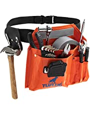 """Single Pouch Tool Belt, Industrial-Strength 1000D PVC Vinyl, 46"""" Adjustable Waist - Multipurpose Utility Pouches with Pockets for Tools, Hammer, Measuring Tape - Durable, Lightweight Belts"""