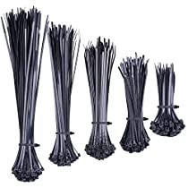 500 Pieces Zip Ties, Black Self-Locking Nylon Cable Zip Ties in 5 Different Sizes for Home Office Garden Garage and Workshop NV02