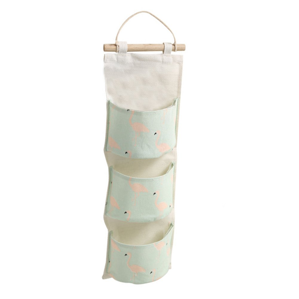 Pink Leisial 3 Grids Hanging Storage Bag Waterproof Cotton Linen Wall Hanging Bag Organizer Toys Container Door Pocket Pouch Container