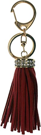 Brown Tassel and Rhinestone Bling Key Chain Fob Phone Purse Charm with Gold Tone