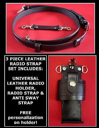 Sav-A-Jake CUSTOM PERSONALIZED Leather Radio Strap & Radio Holder Set Solid Black - Two Mic Loops