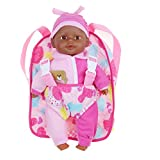 Soft Baby Doll With Take Along Pink Doll Backpack Carrier, Briefcase Pocket Fits Doll Accessories and Clothing African American 13 Inch