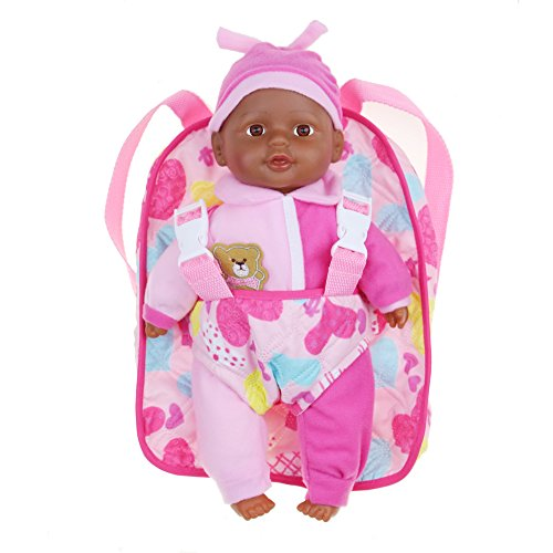 Search : Soft Baby Doll With Take Along Pink Doll Backpack Carrier, Briefcase Pocket Fits Doll Accessories and Clothing African American 13 Inch