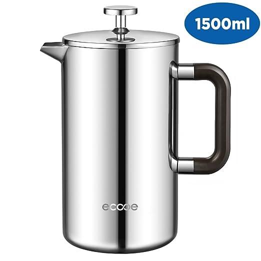 ecooe Cafetera de Prensa Francesa de Acero Inoxidable 1500ml / 50 ...