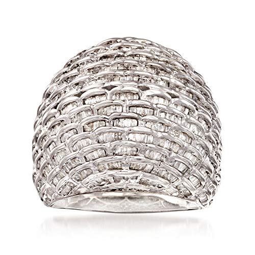 Ross-Simons 2.00 ct. t.w. Diamond Basketweave Dome Ring in Sterling Silver
