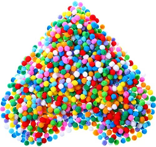 2000 Pieces 0.6 cm Assorted Color Elastic Pom Poms Arts Crafts Pompoms Balls for Hobby Supplies and Creative Craft DIY Material