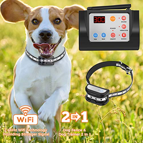 Hokita Dog Fence Wireless & Training & Training Collar Outdoor 2-in-1,Electric Pet Containment System,Waterproof Reflective Stripe Collar, Harmless for All Dogs (Black)