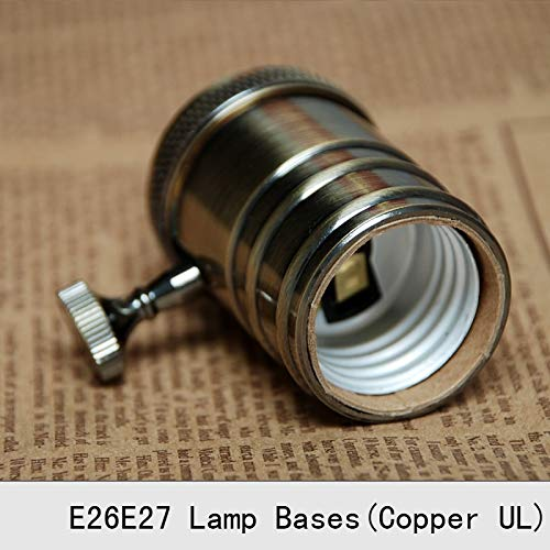 Lamp Base - Vintage Lamp Bases E27 Edison Copper Bronzed Retro Screw Bulb Socket Knob Switch Pendant Light Lamp Holders 2PCS by Kamas (Image #3)
