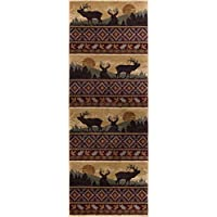 Misty Elk Novelty Lodge Pattern Red Runner Rug, 2.7 x 7