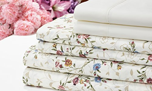 Venetian 1200 Series Soft Brushed Microfiber 6 Piece Deep Pocket Sheet Set - 12 Designs - 2 Bonus Solid Pillowcases (Twin, Ivory Floral) Floral Flat Sheet