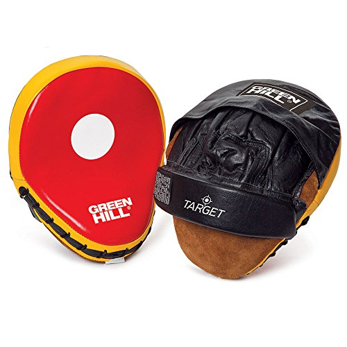 Focus Punching Mitts ''TARGET'' made of Top Quality Leather with Pre Formed Padding used by the Coaches and Trainers worldwide (RED/BLACK) by GREEN HILL