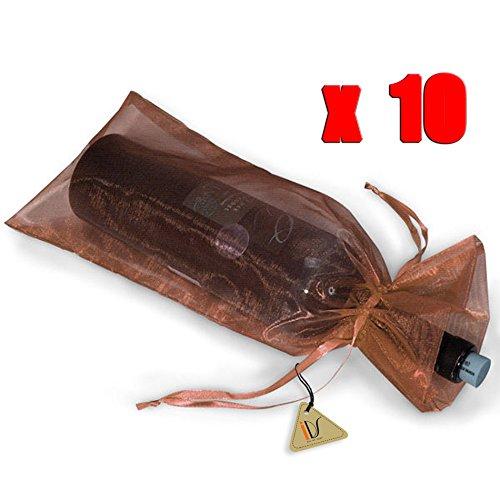 Brown Organza Bags (10 x Sheer Organza Wine Bottle Gift Bags Weddings Holidays Parties Brown)