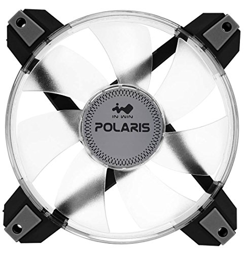 InWin Polaris Led Green Single Fan 120mm High Performance Silent Cooling Computer Case Fan with Anti-Vibration Mounting Cooling