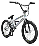 Mongoose Title Pro BMX Race Bike for Beginner to Intermediate Riders, Featuring Lightweight Tectonic T1 Aluminum Frame and Internal Cable Routing with 20-Inch Wheels, Silver