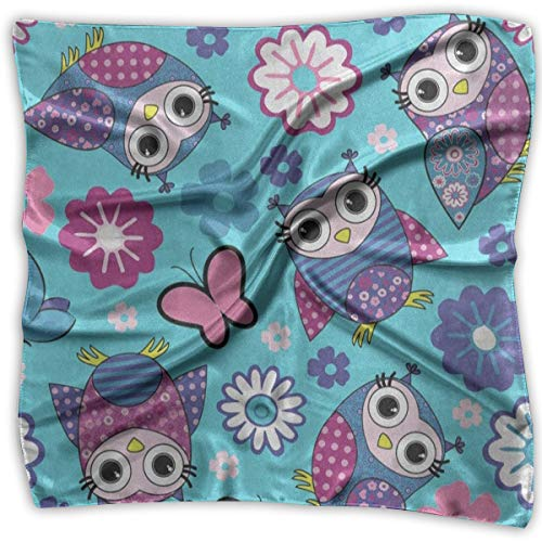 (Square Scarf Cute Animal Owl Floral Flower Butterfly Muffler Unisex Bandanas Tie For Woman)