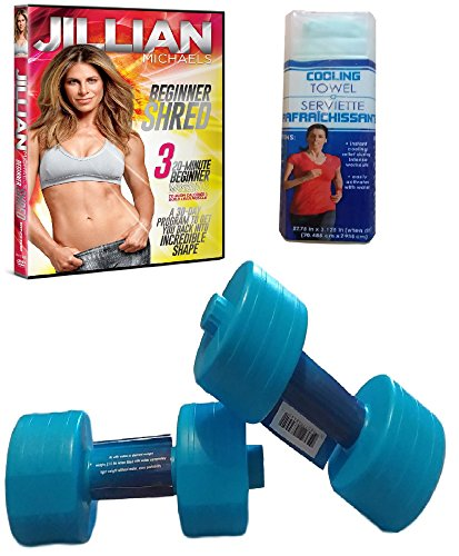 Fitness Set of TWO (2) Exercise Water Dumbbells, Jillian Michaels Beginner Shred DVD Workout, and Reusable Cooling Towel - Bundle of 4 Items