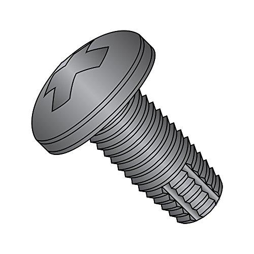 Thread Cutting Machine - Steel Thread Cutting Screw, Black Zinc Plated, Pan Head, Phillips Drive, Type F, #8-32 Thread Size, 1/4