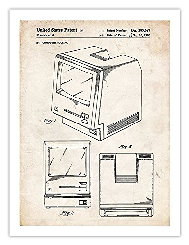 Steves Poster Store FIRST MAC COMPUTER POSTER 1986 US PATENT PRINT APPLE MACINTOSH COMPUTER STEVE JOBS PLUS SE GEEK GIFT (Matte Paper) (24