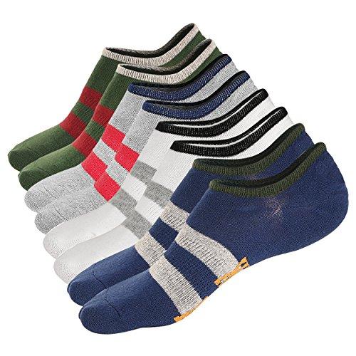 M Z Mens No Show Socks Low Cut Ankle Casual Cotton Non Slide Socks 4Pack