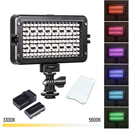 RGB LED Camera Video Light, Dimmable 3300K-5600K Camcorder LED Light Panel for Digital SLR Cameras with 0-299 Muti-Color Types, White Filter, Battery and Charger