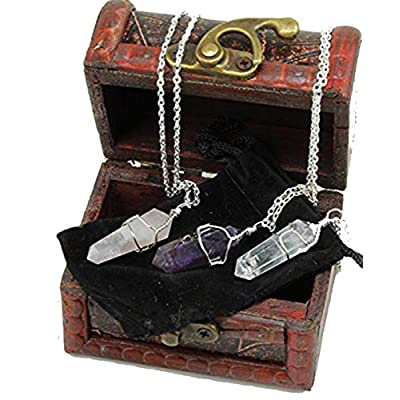 Dancing Bear Healing Crystal Pendant Necklaces (Set of 3) Master Stones: Amethyst, Rose Quartz & Clear Quartz w/ Identification Cards & Treasure Box, Positive Energy, Good Vibes, Lucky Charm, Reiki: Toys & Games