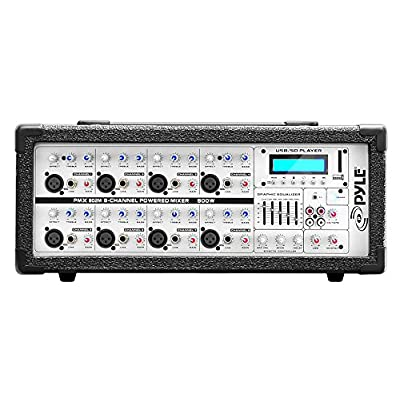 8-Channel Microphone System Powered Mixer - 800 Watts Power Peak AUX (3.5mm) Input Connector SD Memory Card & USB Flash Drive Readers 5-Band Graphic Equalizer LCD Display w/ Cooling Fan - Pyle PMX802M: Musical Instruments